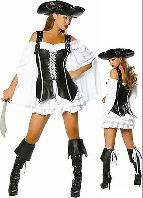 Gypsy Pirate Captain Costume Ladies Womens Hen Party HALLOWEEN Fancy Dress M