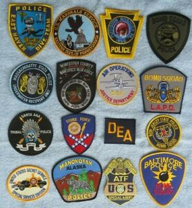 16 x SPECIAL Konvolut Police Patch USA Polizei Abzeichen BOMBEN TAUCHER DEA ATF