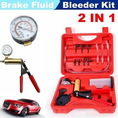 Car Hand Held Vacuum Pressure Pump Tester Set Brake Fluid Bleeder Tool Kit