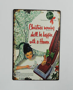 Cool-1950s-Vintage-Advertising-Tin-Plate-Metal-Sign-Hoover-Vacuum-Cleaners