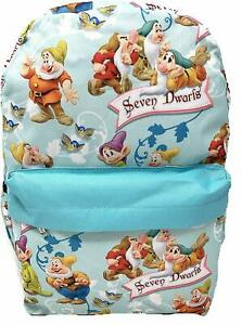 Details zu Snow White and the Seven Dwarfs Backpack Disney School Bag Light Blue NEW
