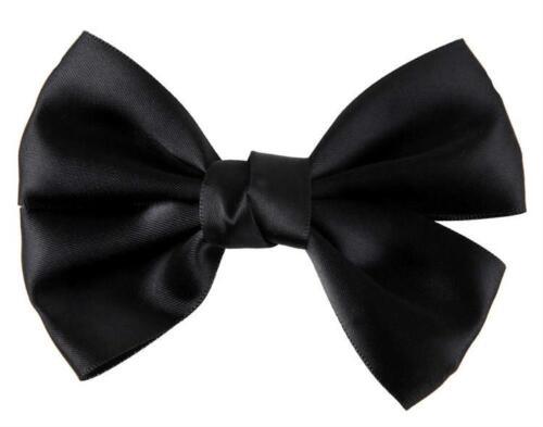 New Black or Burgandy Satin Bow Concord Hair Clip 10cm x 6.5cm
