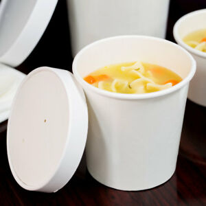 583d0f122a0 Details about (250 Pack) 16 oz. Double-Wall White Paper Soup / Hot Food Cup  with Vented Lid