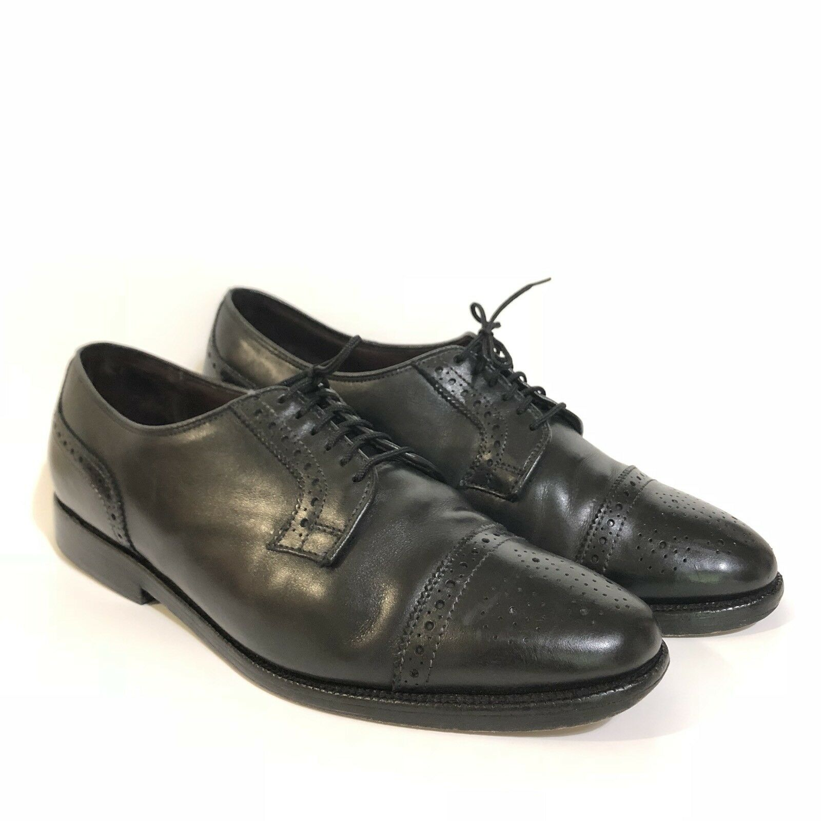 Allen Edmonds The Hancock Leather Oxfords 9.5 D Black Independence Line Toe Cap
