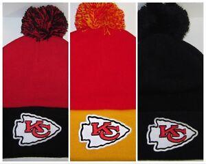 c29cd1fe94817 Kansas City Chiefs Pom Pom Beanie ~Knit Hat ~Classic NFL Patch Logo ...