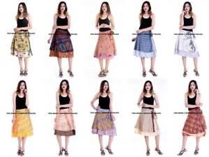 10-PC-100-Silk-Women-Rapron-Print-Short-Wrap-around-Skirt-REVERSIBLE-PLUS-SIZE