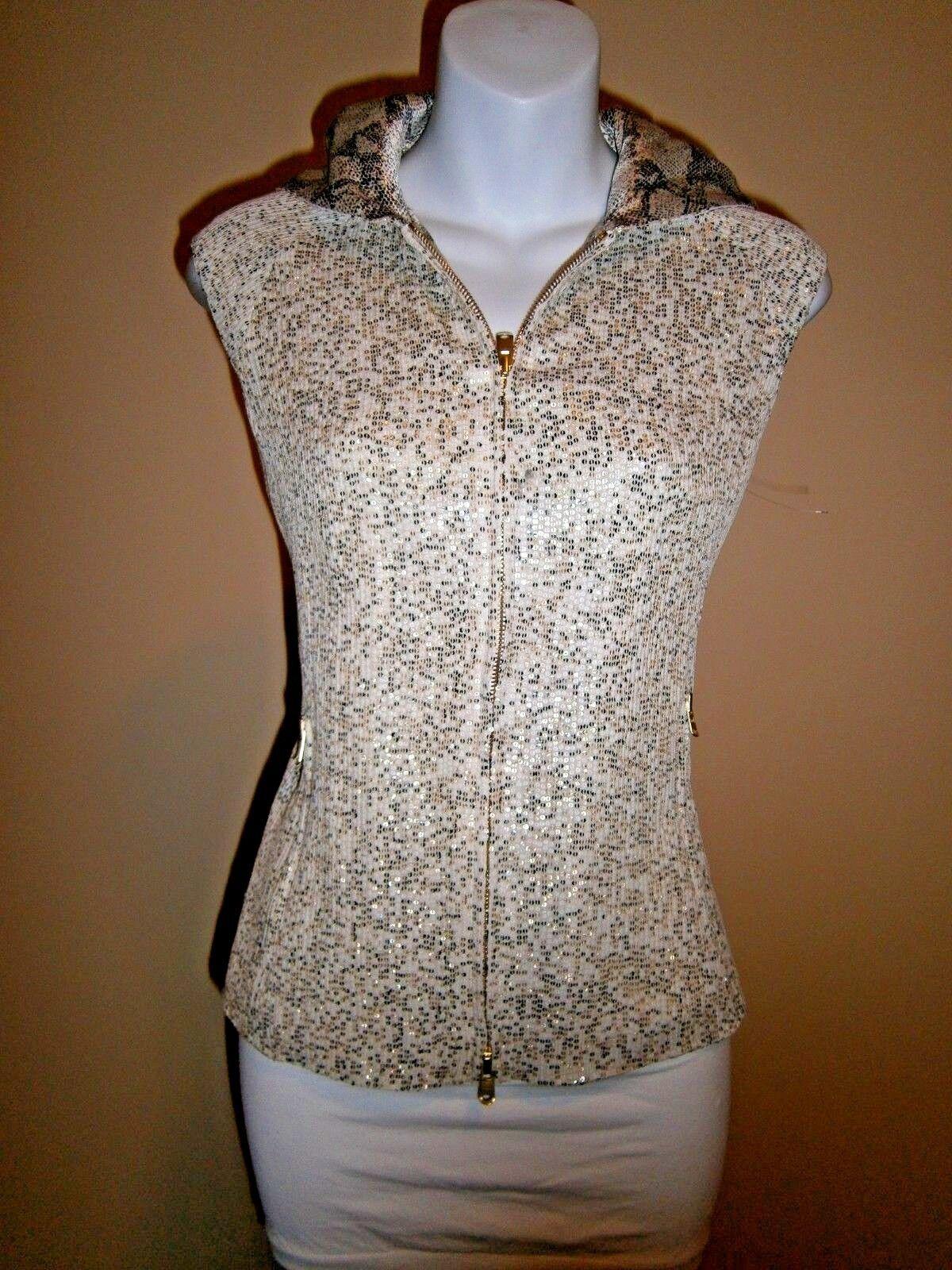 Tuleh Multi-Farbe Glitter Print Sleeveless Hooded Zipper Front Top Vest Sz S