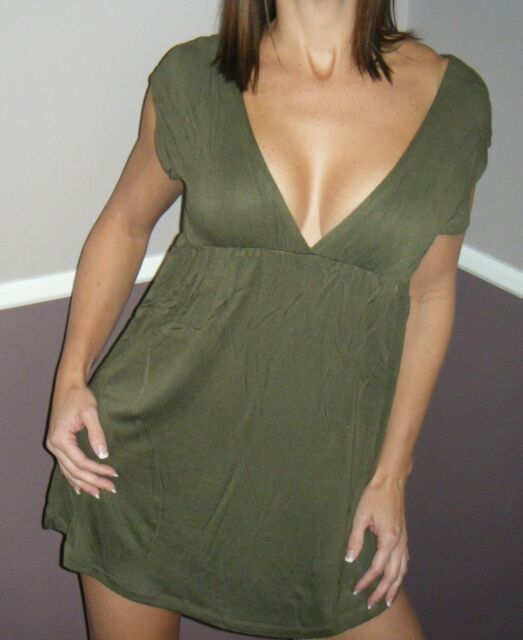 Very Sexy Deep V-Neck Cleavage Babydoll Dolman Tunic Mini Dress Olive S/M/L