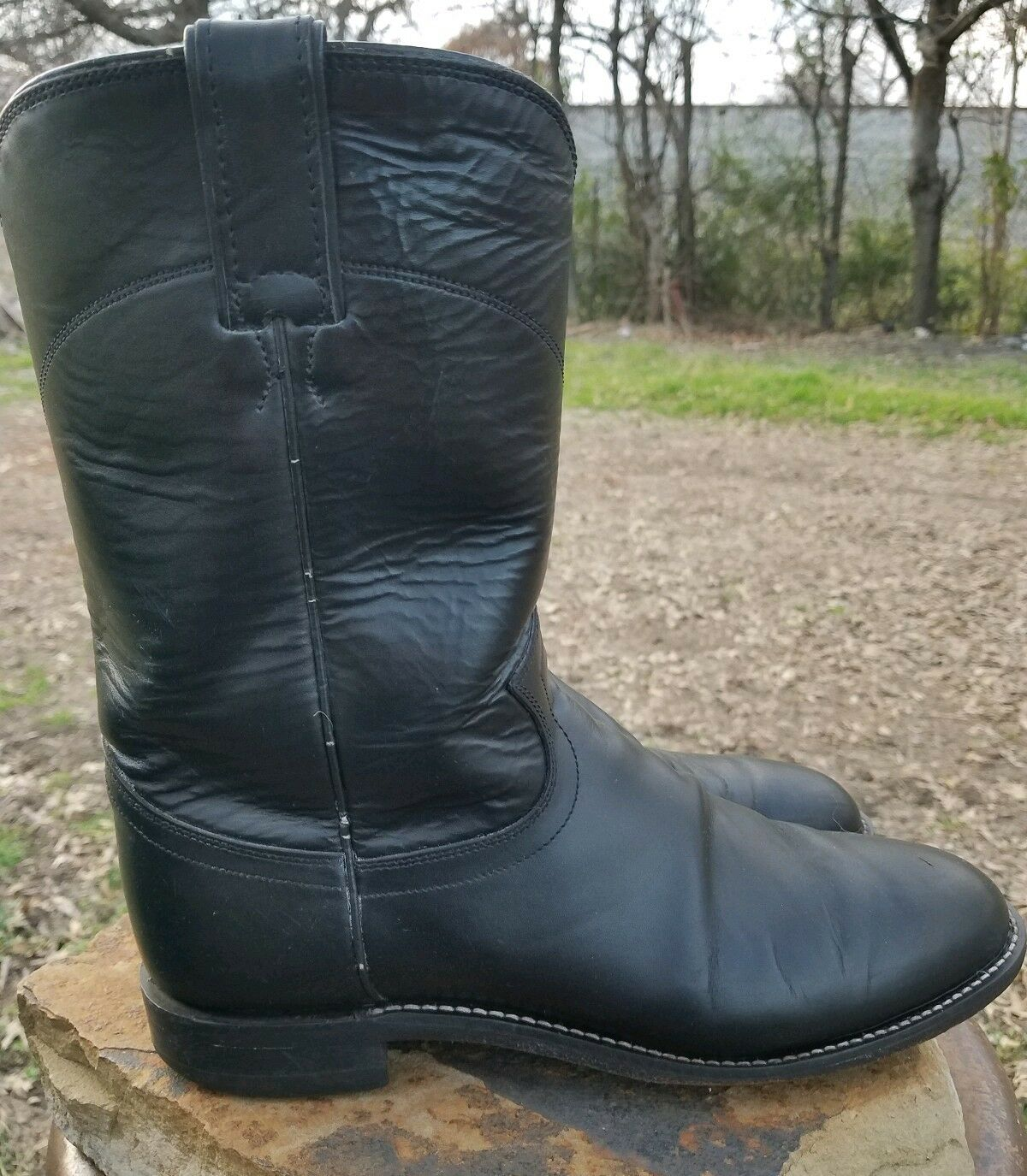 Justin Black Leather Roper Cowboy Western Boots Mens Size 8 D Style L3133 USA
