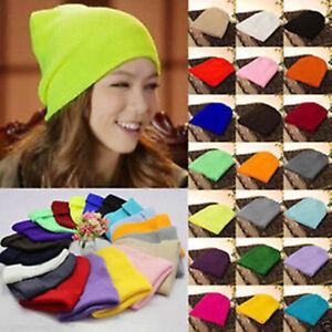 Men-039-s-Women-Beanie-Knit-Ski-Cap-Hip-Hop-Blank-Color-Winter-Warm-Unisex-Wool-Hat