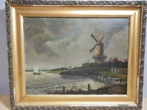 Antique-Dutch-Painting-Oil-on-Canvas-Windmill-amp-Waterfront-K-Otto-26-x-21-1-2