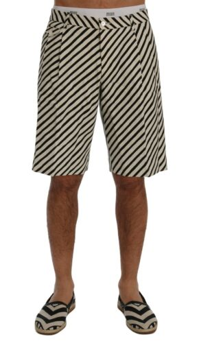 W32 NEW $740 DOLCE /& GABBANA Shorts White Black Striped Hemp Casual s IT46