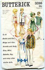 Doll Clothes Pattern 2519 Barbie Ken Alan Andy Captain Action Mera Honey West