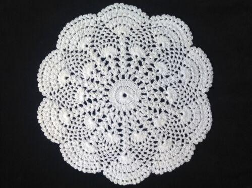 "Handmade 9"" 23cm white vintage doilie doily doiley crochet lace round"