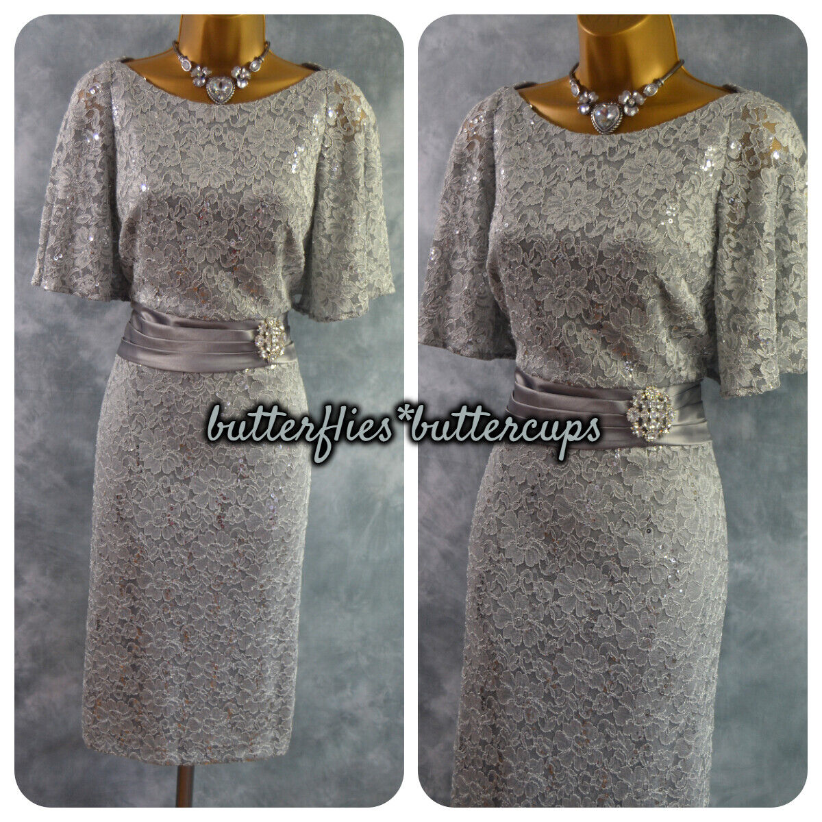 ~ ELIZA J ~ Size 12 BNWT Silver Grey Sparkle Sequin Dress Mother of the Bride