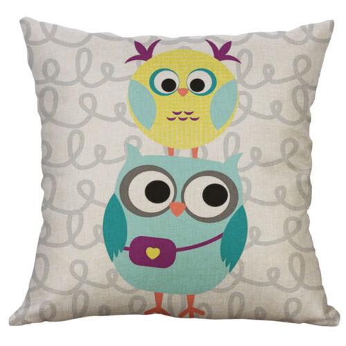 """18/"""" Cartoon Owl Pinrting Cotton Linen Pillow Case Cushion Cover Sofa Home Decor"""