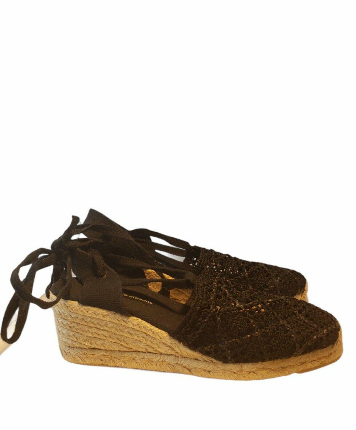 Valerie Stevens femme chaussures sandales espadrilles NOIR Talons Compenses Taille 8 M Boho Chic