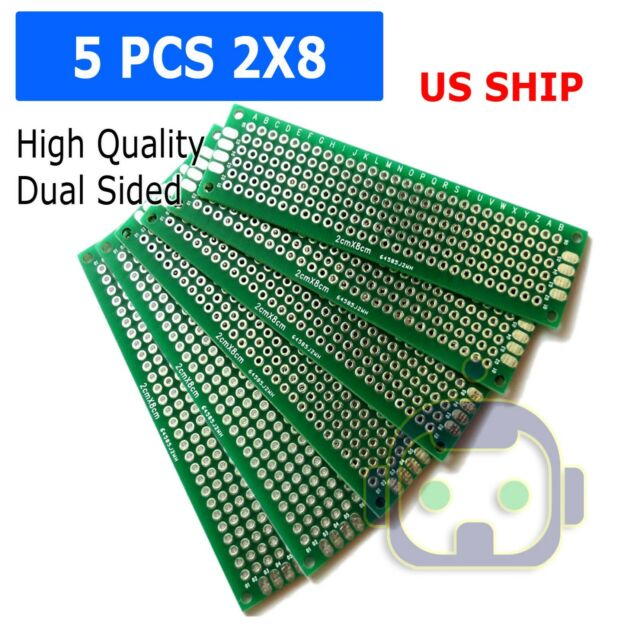 5PCS 2X8CM Double-Side Protoboard Circuit Universal Printed Prototype PCB Board