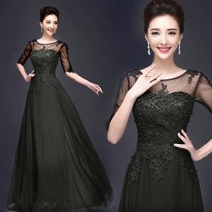 Women-039-s-Black-Formal-Evening-Prom-Dress-Ballgown-Chiffon-Lace-Long-Skirt-QP424
