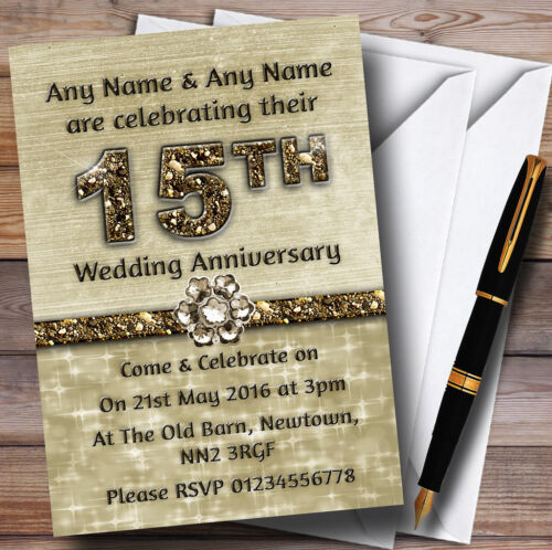 Titanium Gold Sparkly 15Th Personalised Anniversary Party Invitations