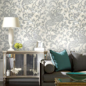 Wallpaper-white-ivory-gray-silver-metallic-textured-rustic-damask-modern-roll-3D