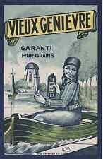 """""""VIEUX GENIEVRE GARANTI PUR GRAINS"""" Etiquette-chromo originale début 1900"""