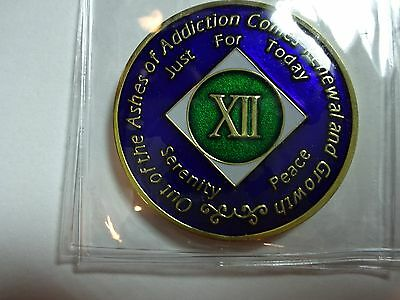 NA Black Gold Coin 2 Year Tri-Plate Narcotics Anonymous Medallion Out of Ashes