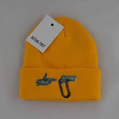 Actual Fact Run The Jewels Embroidered Hip Hop Roll Up Yellow Beanie Hat