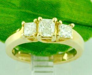 0-96-ct-14k-Yellow-Gold-Ladies-Diamond-Ring-3-stone-Engagement-Princess-Cut