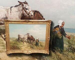 Museum-Like-Antique-Oil-Painting-Danish-Coastal-Landscape-Dunen-Signed-Aumont