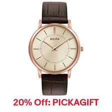 Bulova Men's Quartz Ultra Slim Rose-Gold Case Brown Leather 20% off PICKAGIFT