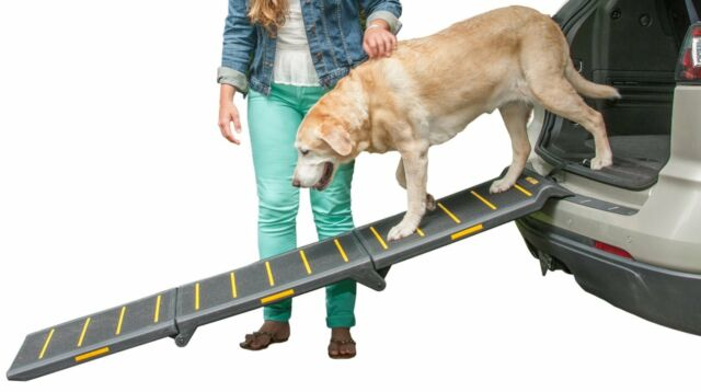 "Pet Gear Tri-Fold Extra Wide Reflective Dog Pet Ramp 71"" Capacity up to 200 lbs."