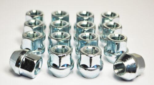 Silver Set of 16 x M14 x 1.5 19mm Hex Open Alloy Wheel Nuts