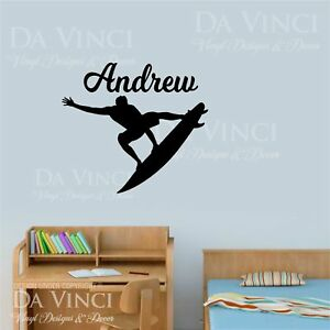 Personalized Surfer Wall Decal Removable Surfing Wall Sticker DIY Surf Wall Art
