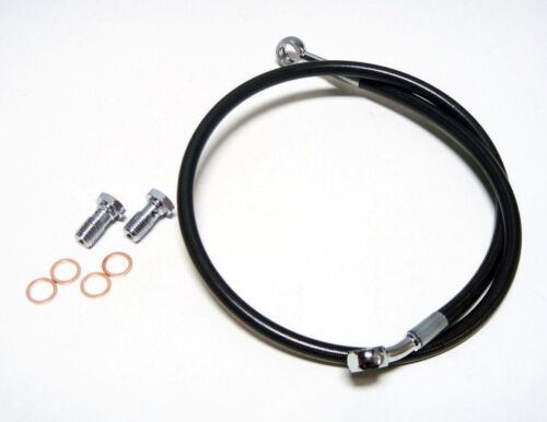 "STREAMLINE 2/"" BLACK EXTENDED REAR STEEL BRAIDED BRAKE LINE HONDA TRX300EX 1993+"