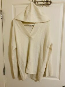 Loft-Outlet-Lounge-White-overhead-Sweater-top-With-Hoodie-Women-039-s-S-Mint