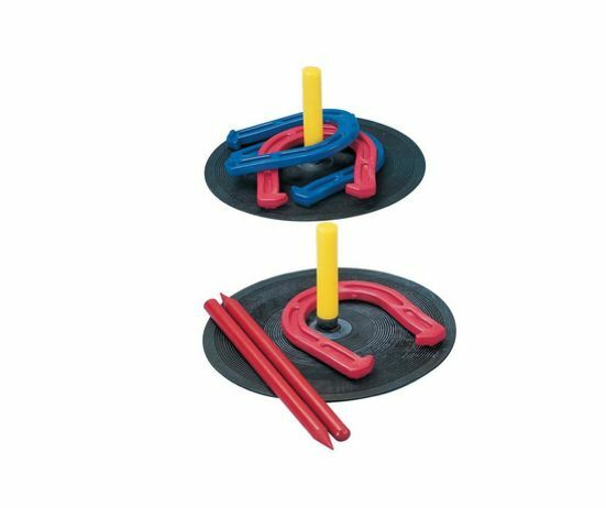 New Rubber Horseshoe Set Lawn Game Fun 2 Players 2 Mats Plastic Stakes Outdoors