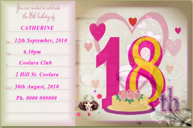 10 PERSONALISED 18th BIRTHDAY INVITATIONS WITH MAGNET STRIPS