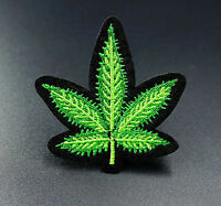 Cannabis Leaf Green Embroidered Iron On Sew On Patches Badges Transfers Patch