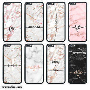 super popular d75e1 03786 Details about PERSONALISED RUBBER CASE ROSE GOLD MARBLE ENDLESS NAME  INITIALS IPHONE SAMSUNG