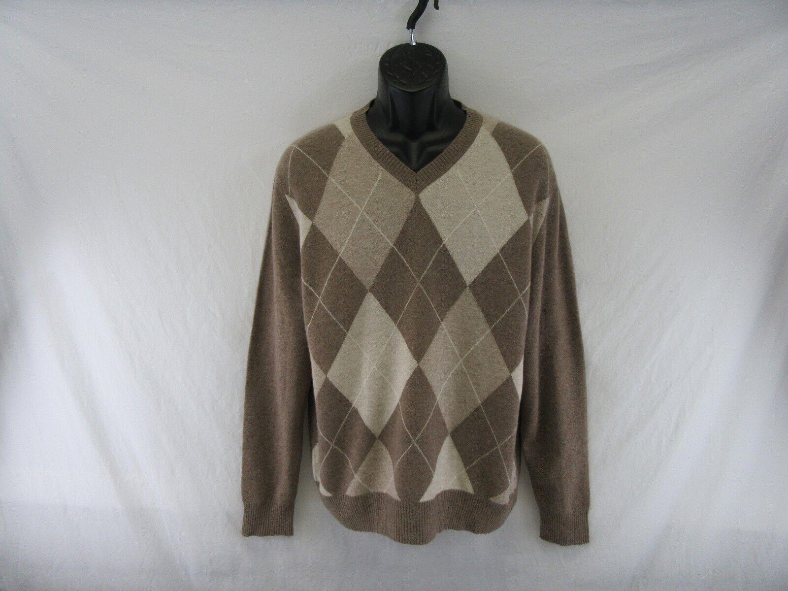Daniel Bishop 100% Cashmere Men's Argyle Sweater Size L  KK307