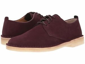 Men-039-s-Shoe-Clarks-Desert-London-Leather-Lace-Up-Shoe-28511-Burgundy-Suede-New