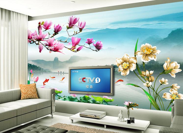 3D Lotus Karpfen Teich  875  Tapete Wandgemälde Tapete Tapeten Bild Familie DE