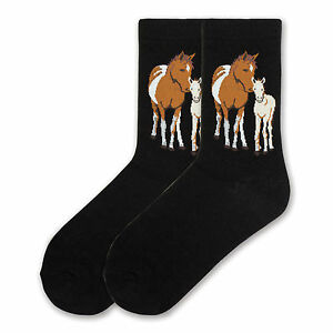 K.Bell Black Mares & Foal Horse Equestrian Ladies Crew Cotton Blend Socks New