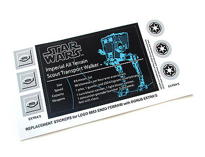 STAR WARS 'DIE CUT' REPLACEMENT STICKERS for UCS Lego 10174 IMPERIAL AT-ST, etc