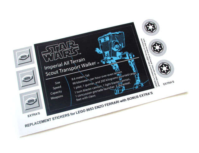 Lego 4481 MODELS CUSTOM UCS STYLE PLAQUE STICKER for STAR WARS HAILFIRE DROID