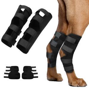 COPPIA-di-cane-gamba-posteriore-CONTROVENTO-Hock-Protettore-terapeutico-JOINT-Brace-Wrap-4-Cinghie