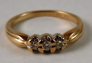 100% Genuine 9ct Yellow Gold and 0.09cts Diamonds Triology Ring Sz 7 US