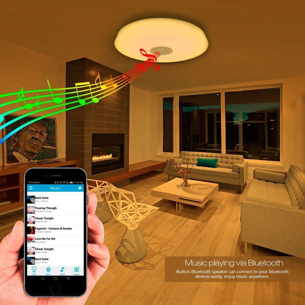 Lampara de techo LED con Altavoz Bluetooth Luz Blanca de Colores APP...