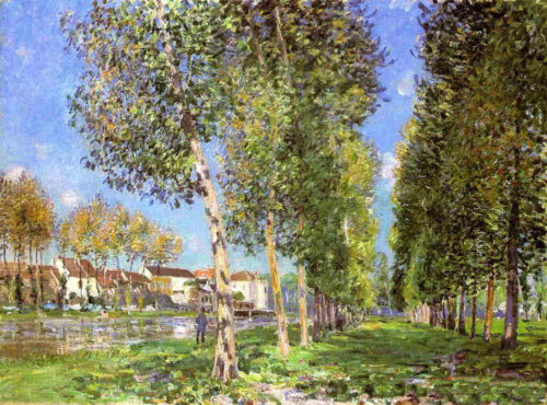 Oil painting Alfred Sisley The Island of Saint-Denis trees with landscape